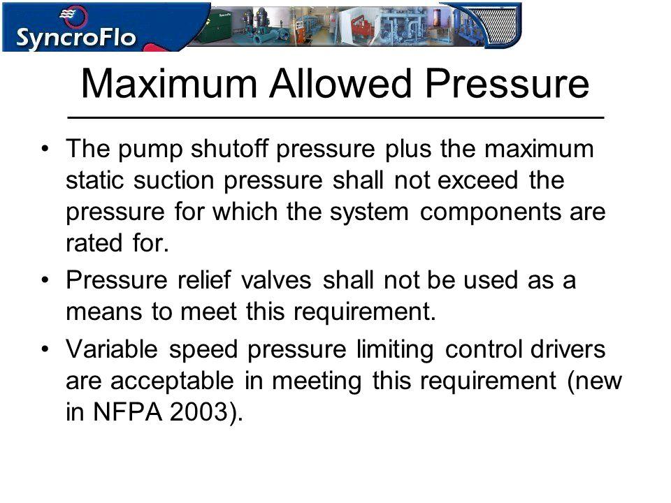 Maximum Allowed Pressure