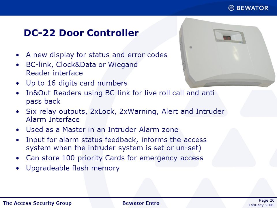 DC-22 Door Controller A new display for status and error codes
