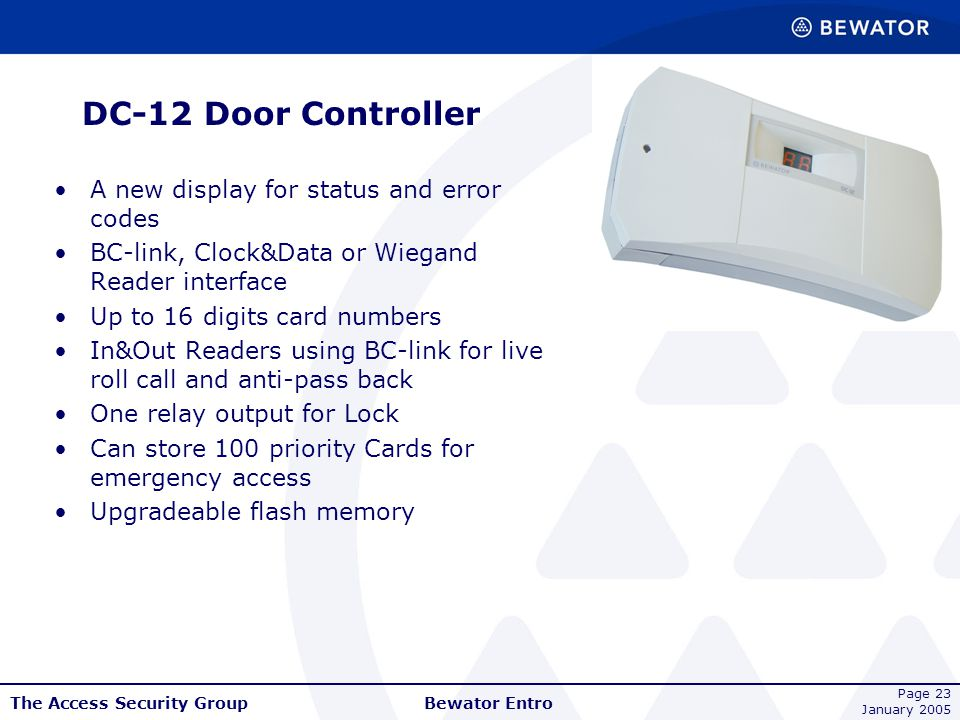 DC-12 Door Controller A new display for status and error codes