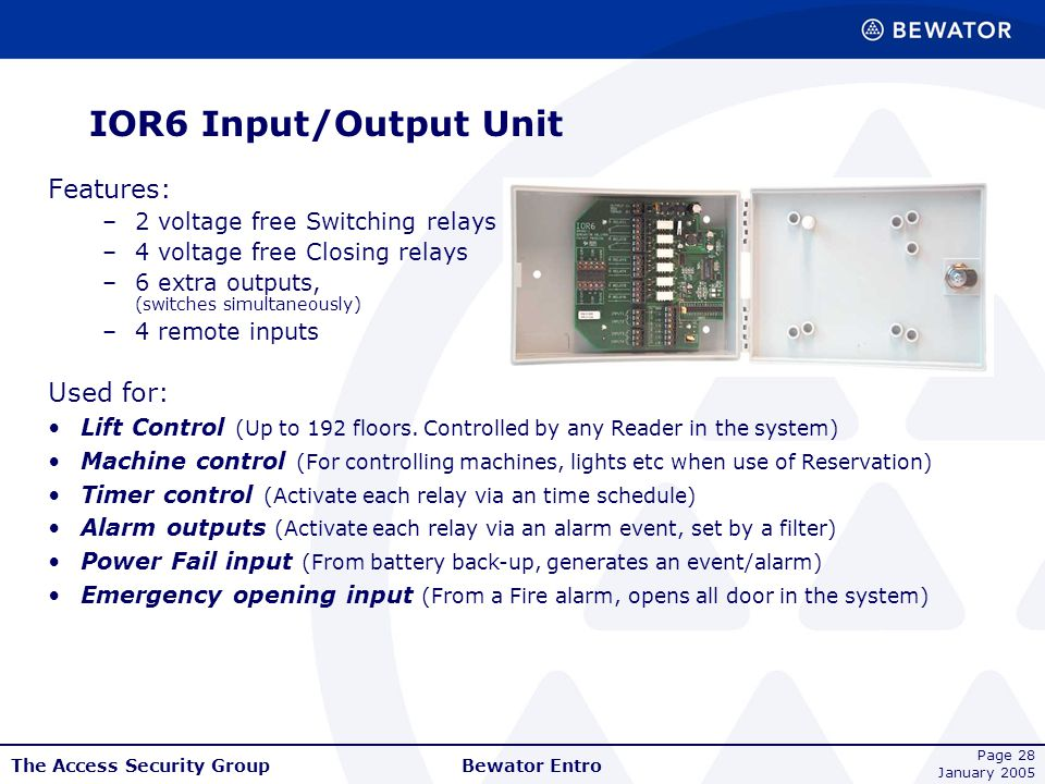 IOR6 Input/Output Unit Features: Used for: