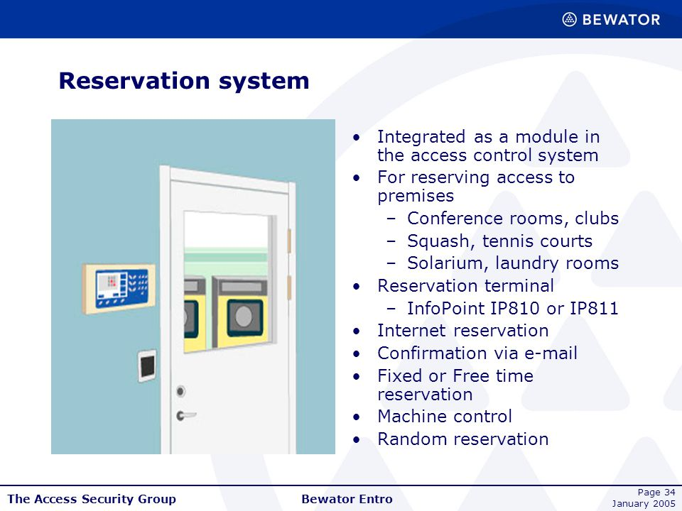 Reservation system Integrated as a module in the access control system