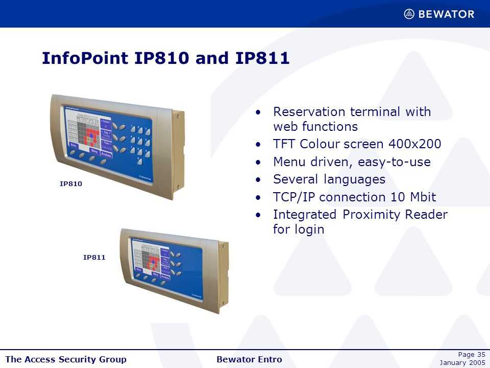 InfoPoint IP810 and IP811 Reservation terminal with web functions
