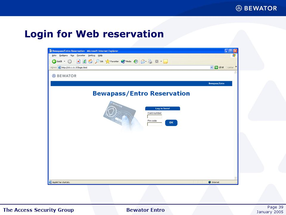 Login for Web reservation