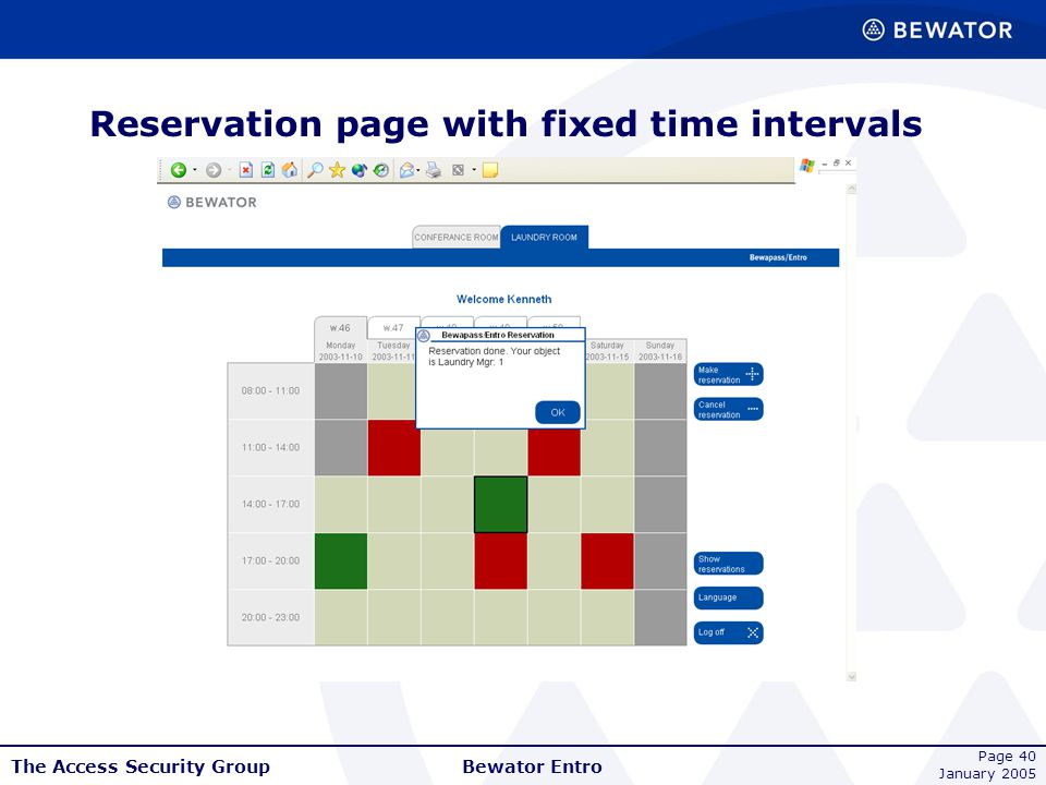 Reservation page with fixed time intervals