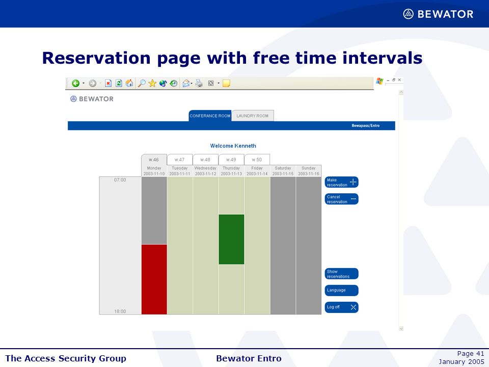 Reservation page with free time intervals