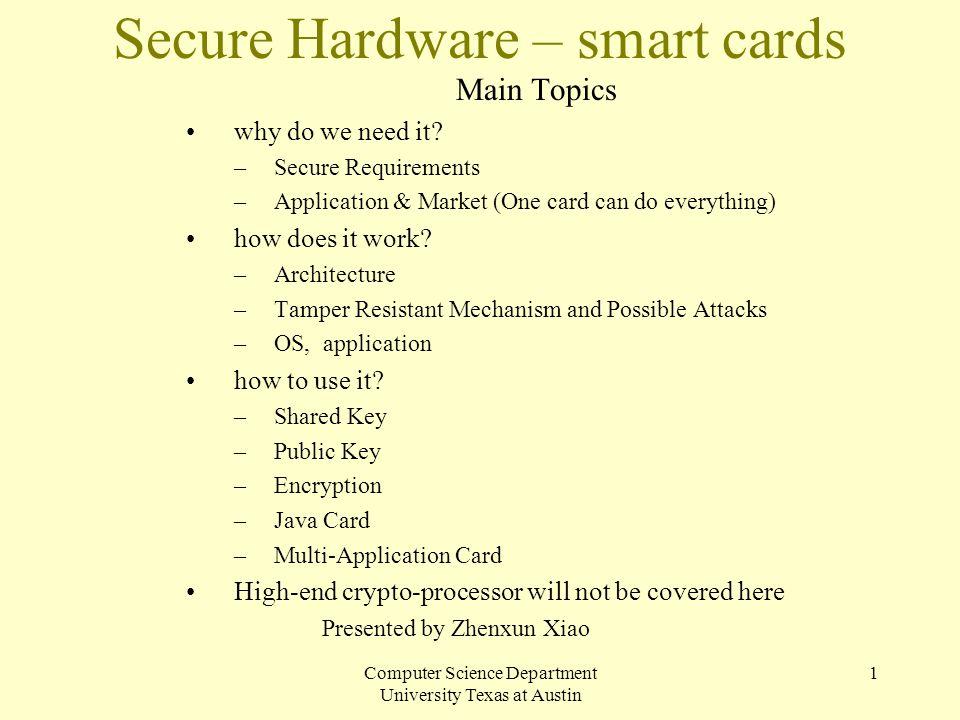 Secure Hardware – smart cards