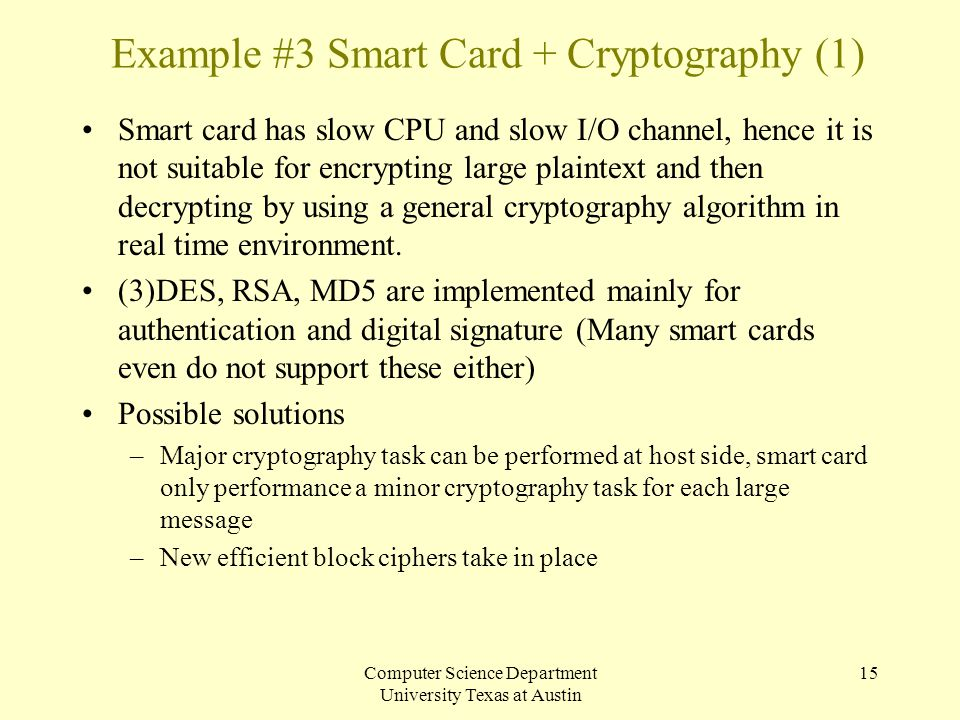 Example #3 Smart Card + Cryptography (1)