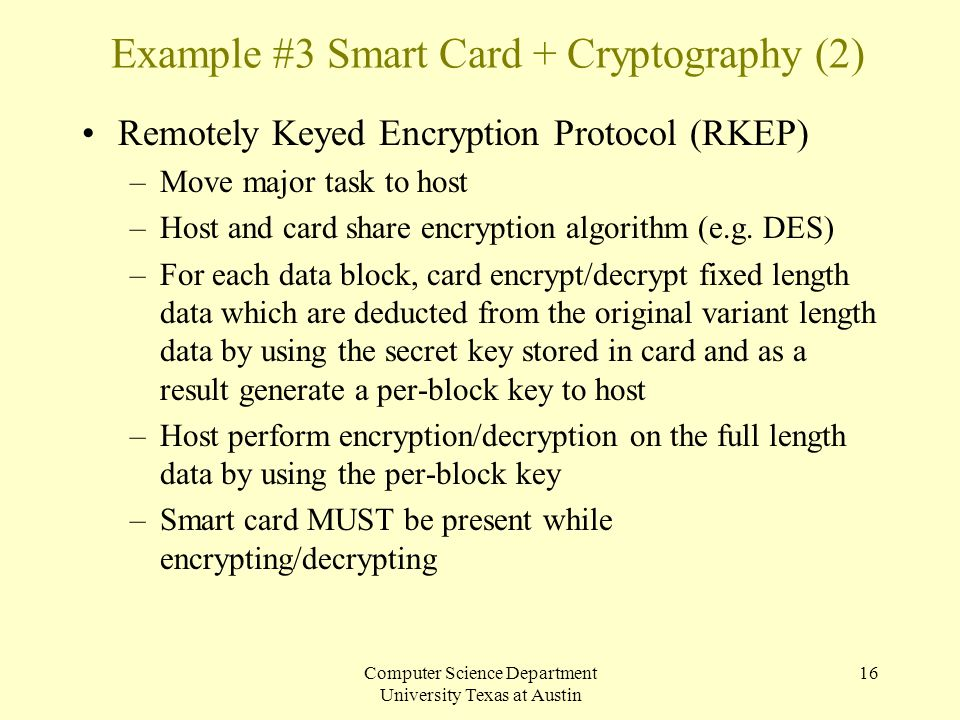 Example #3 Smart Card + Cryptography (2)