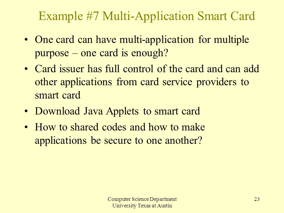 Example #7 Multi-Application Smart Card