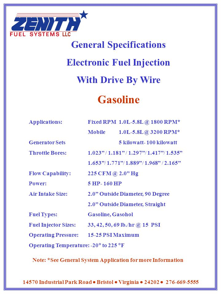General Specifications Electronic Fuel Injection