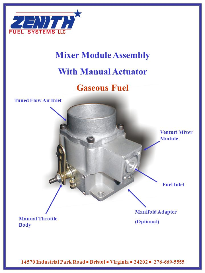 Mixer Module Assembly With Manual Actuator Gaseous Fuel