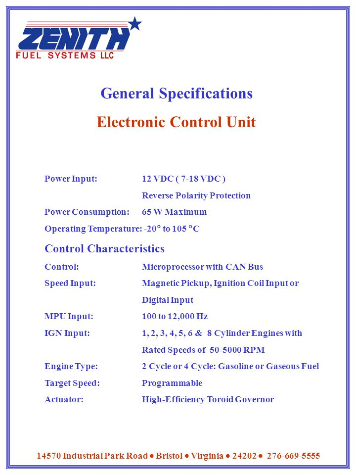 General Specifications Electronic Control Unit