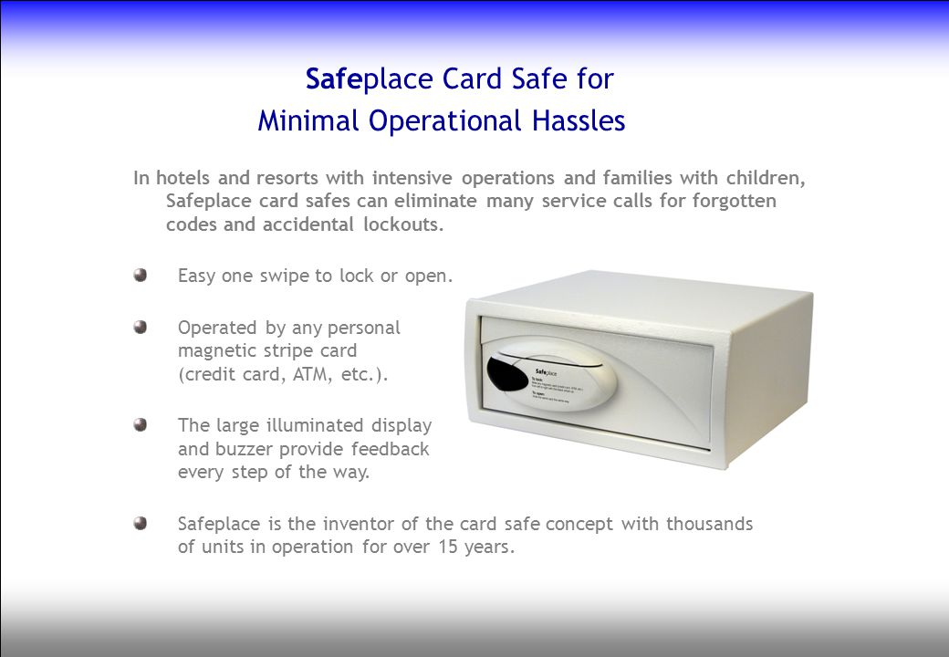 Safeplace Card Safe for Minimal Operational Hassles