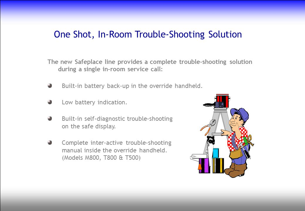 One Shot, In-Room Trouble-Shooting Solution