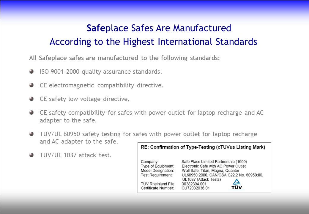 Safeplace Safes Are Manufactured