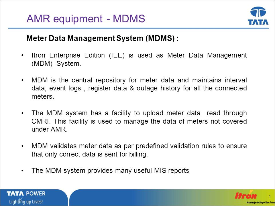 AMR equipment - MDMS Meter Data Management System (MDMS) :
