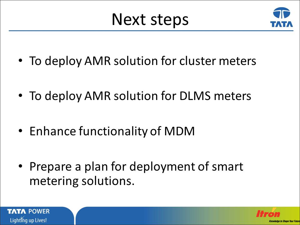 Next steps To deploy AMR solution for cluster meters