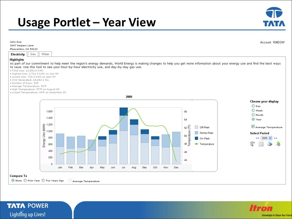 Usage Portlet – Year View