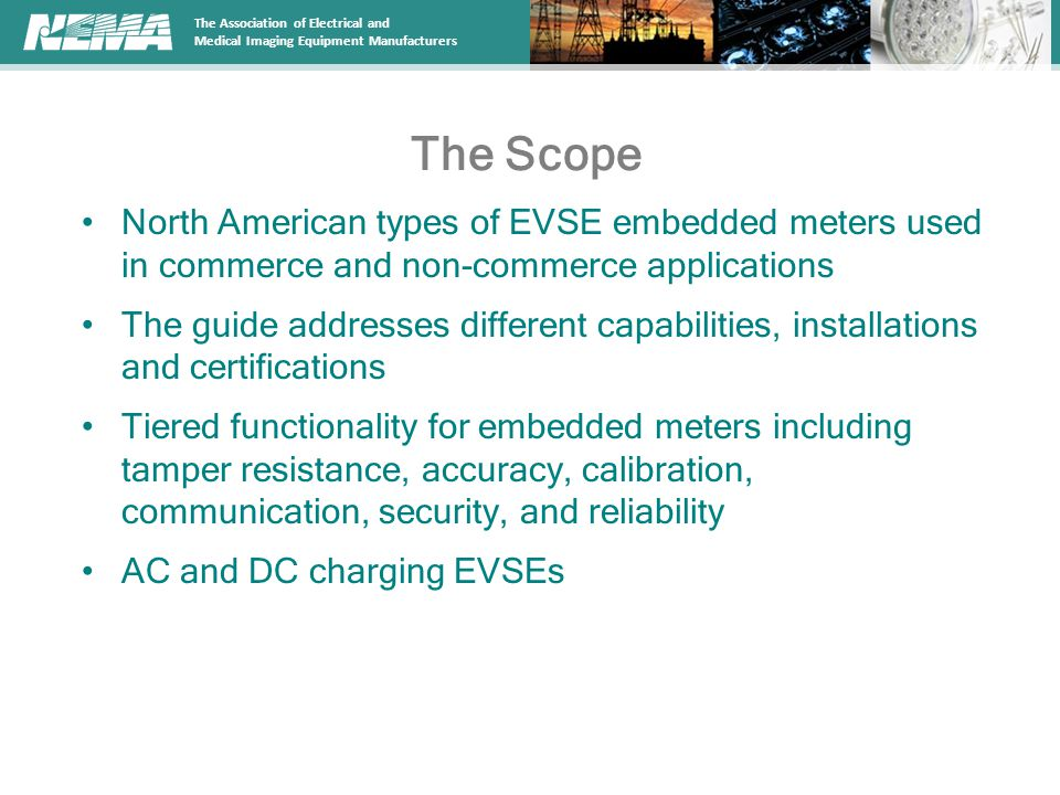 The Scope North American types of EVSE embedded meters used in commerce and non-commerce applications.