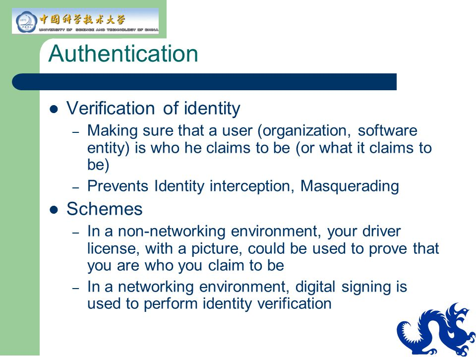 Authentication Verification of identity Schemes