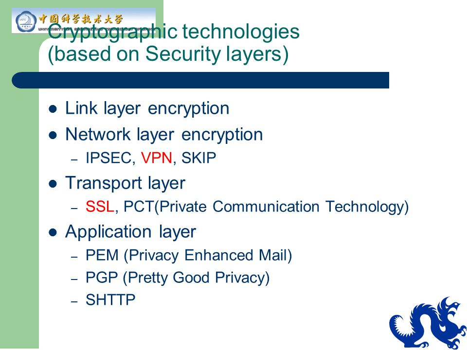 Cryptographic technologies (based on Security layers)