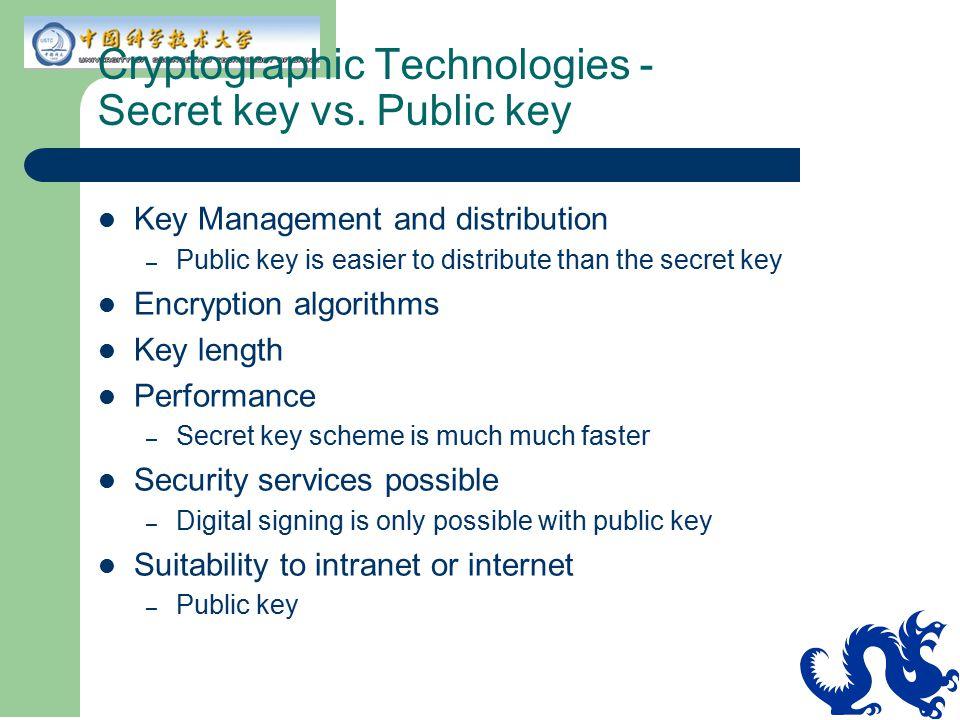 Cryptographic Technologies - Secret key vs. Public key