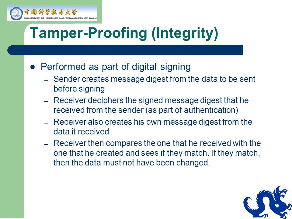 Tamper-Proofing (Integrity)