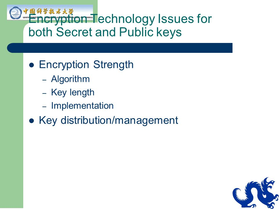 Encryption Technology Issues for both Secret and Public keys
