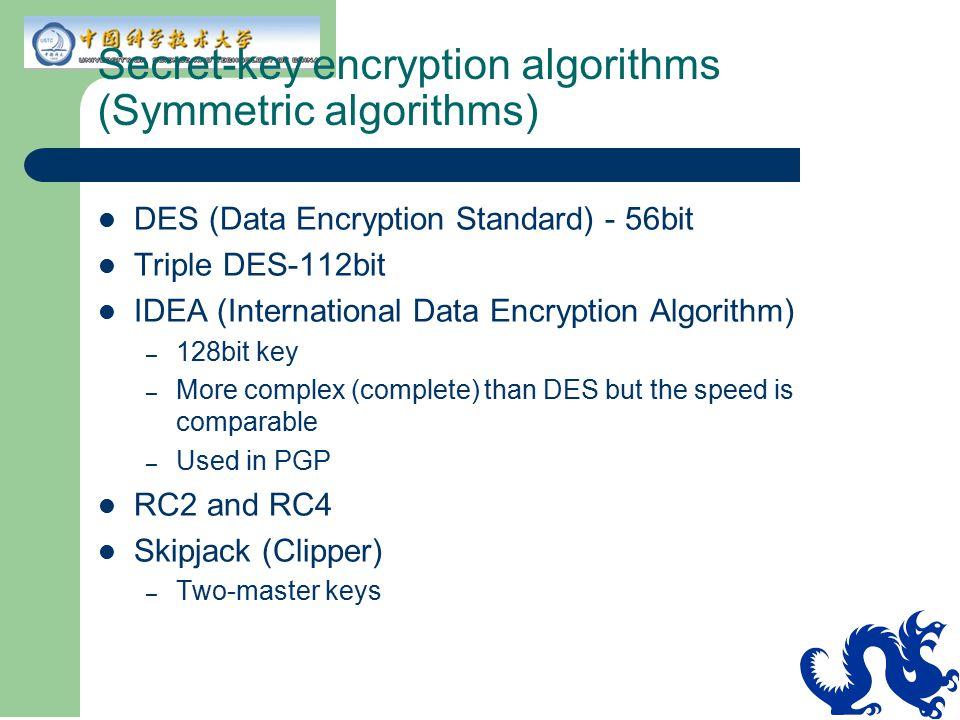 Secret-key encryption algorithms (Symmetric algorithms)