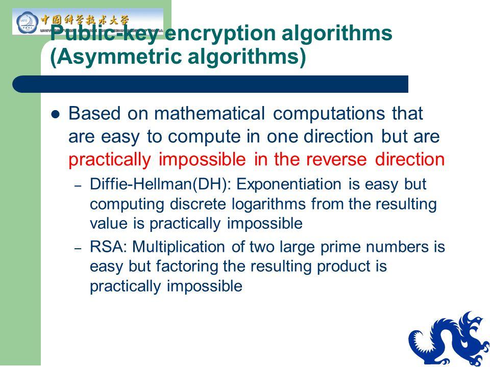 Public-key encryption algorithms (Asymmetric algorithms)