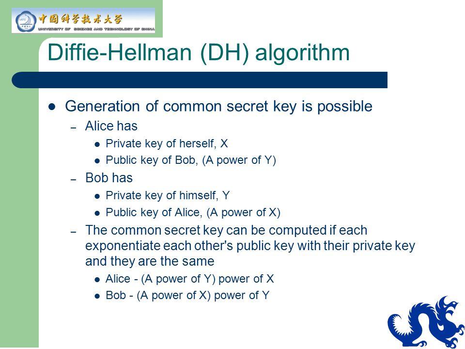Diffie-Hellman (DH) algorithm