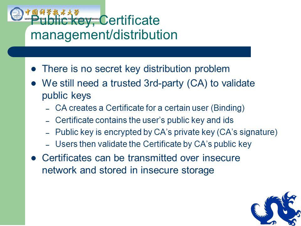 Public key, Certificate management/distribution