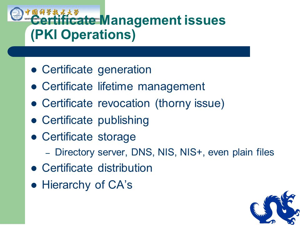 Certificate Management issues (PKI Operations)