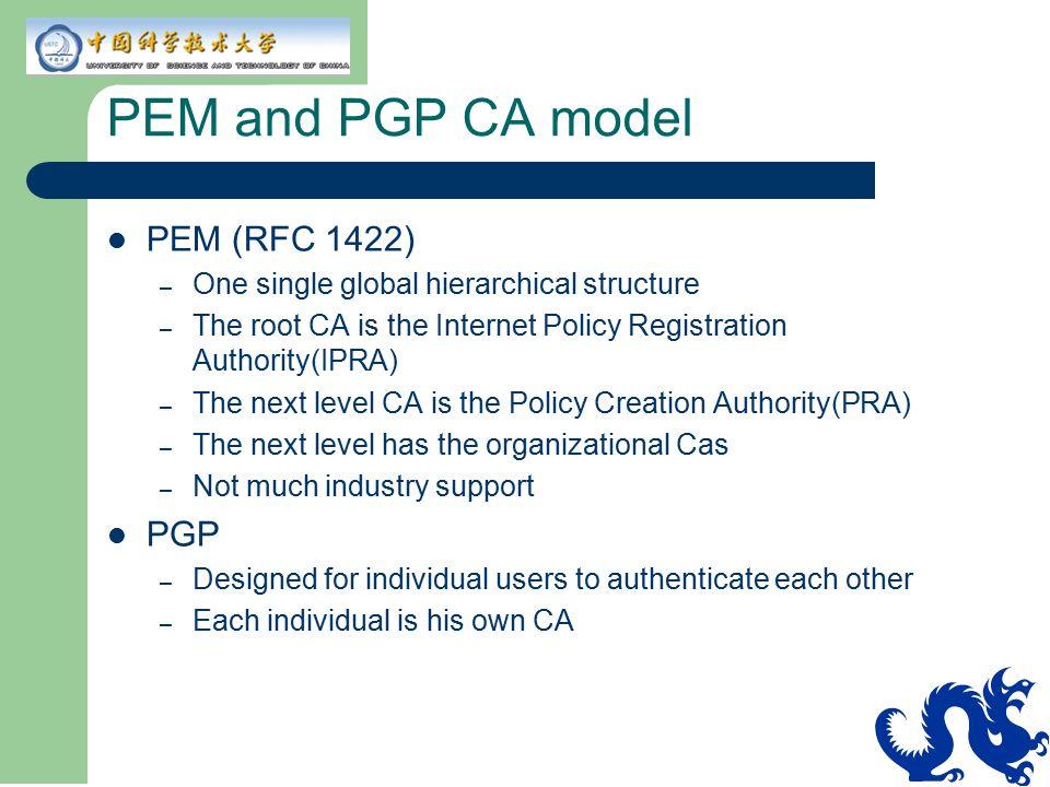 PEM and PGP CA model PEM (RFC 1422) PGP