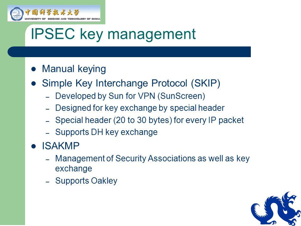 IPSEC key management Manual keying