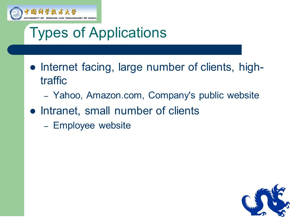 Types of Applications Internet facing, large number of clients, high-traffic. Yahoo, Amazon.com, Company s public website.