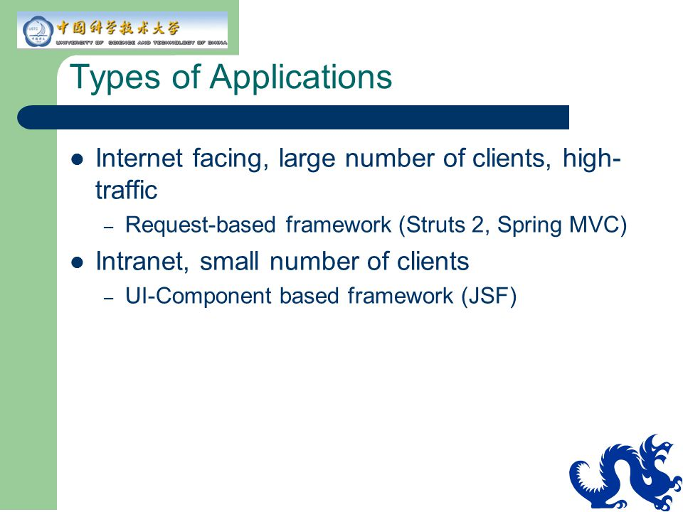 Types of Applications Internet facing, large number of clients, high-traffic. Request-based framework (Struts 2, Spring MVC)
