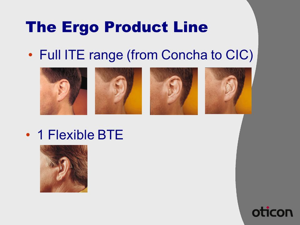 The Ergo Product Line Full ITE range (from Concha to CIC)