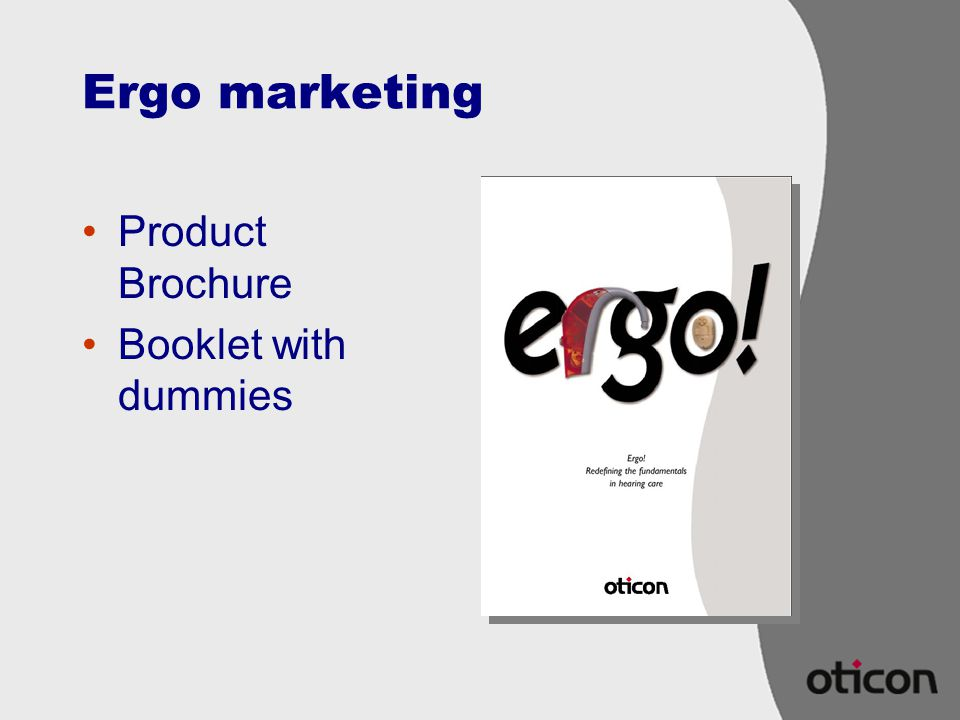 Ergo marketing Product Brochure Booklet with dummies