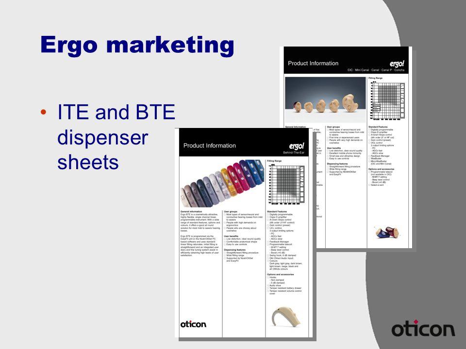 Ergo marketing ITE and BTE dispenser sheets