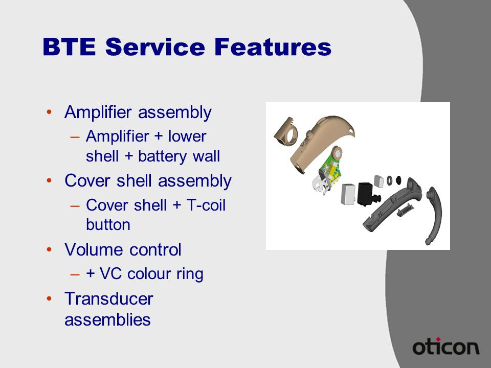 BTE Service Features Amplifier assembly Cover shell assembly