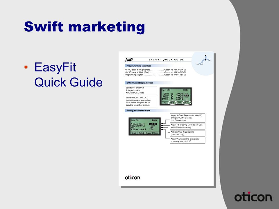 Swift marketing EasyFit Quick Guide