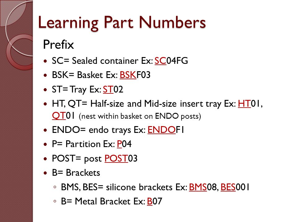 Learning Part Numbers Prefix SC= Sealed container Ex: SC04FG