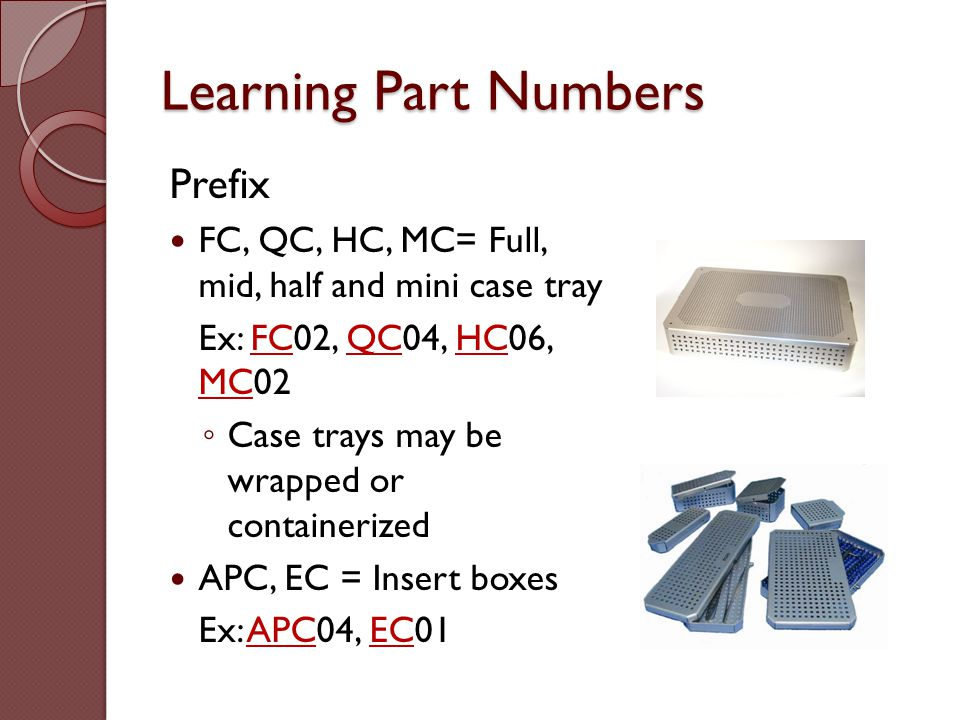 Learning Part Numbers Prefix