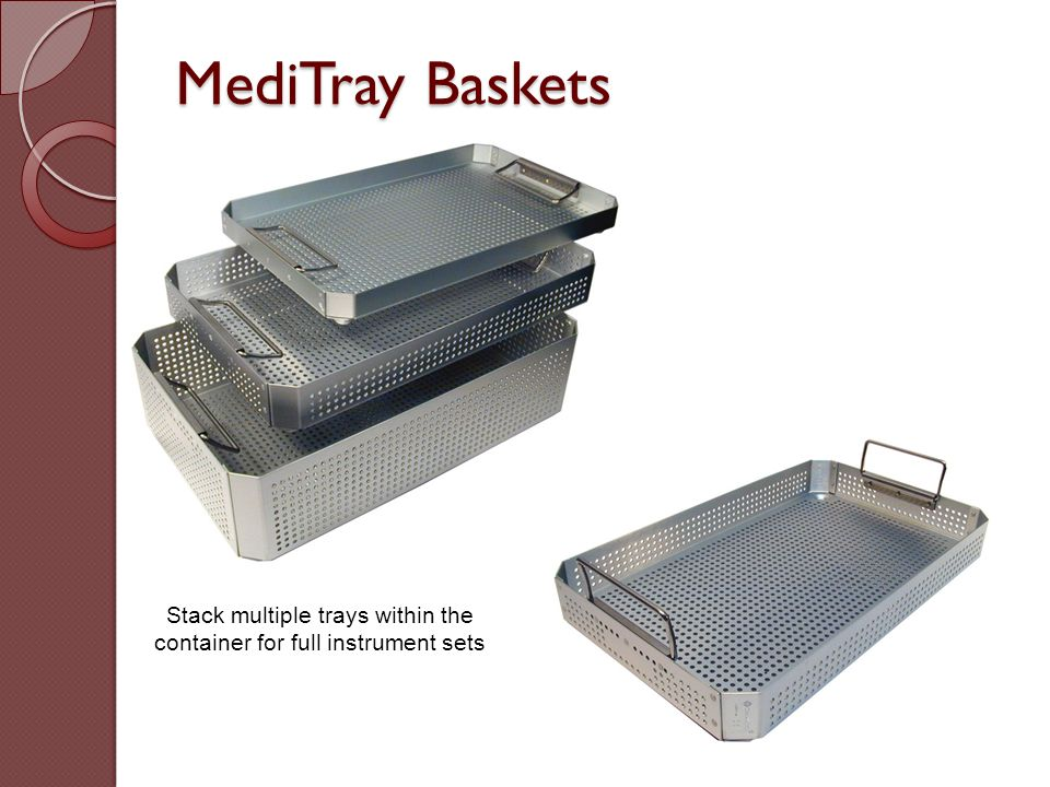 Stack multiple trays within the container for full instrument sets