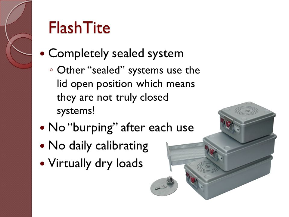FlashTite Completely sealed system No burping after each use