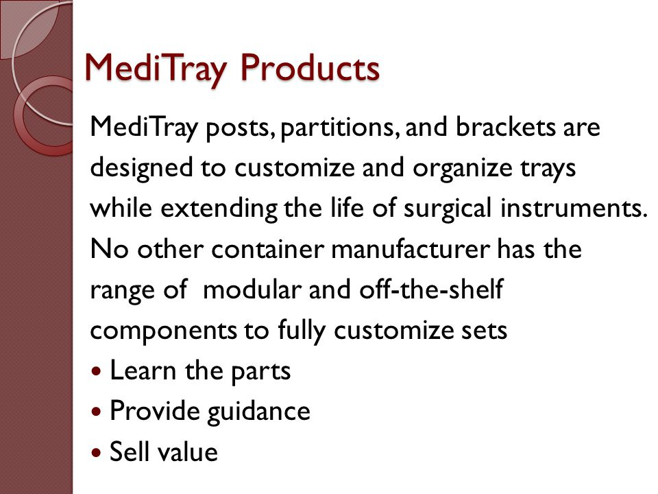 MediTray Products MediTray posts, partitions, and brackets are