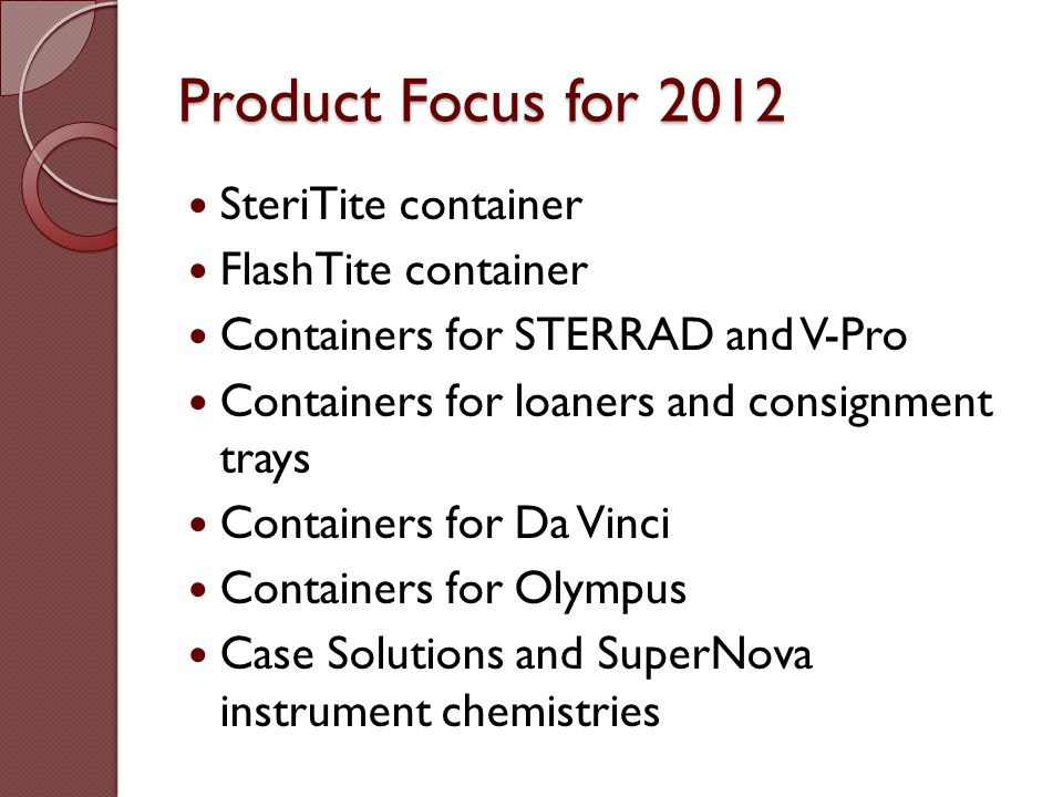 Product Focus for 2012 SteriTite container FlashTite container