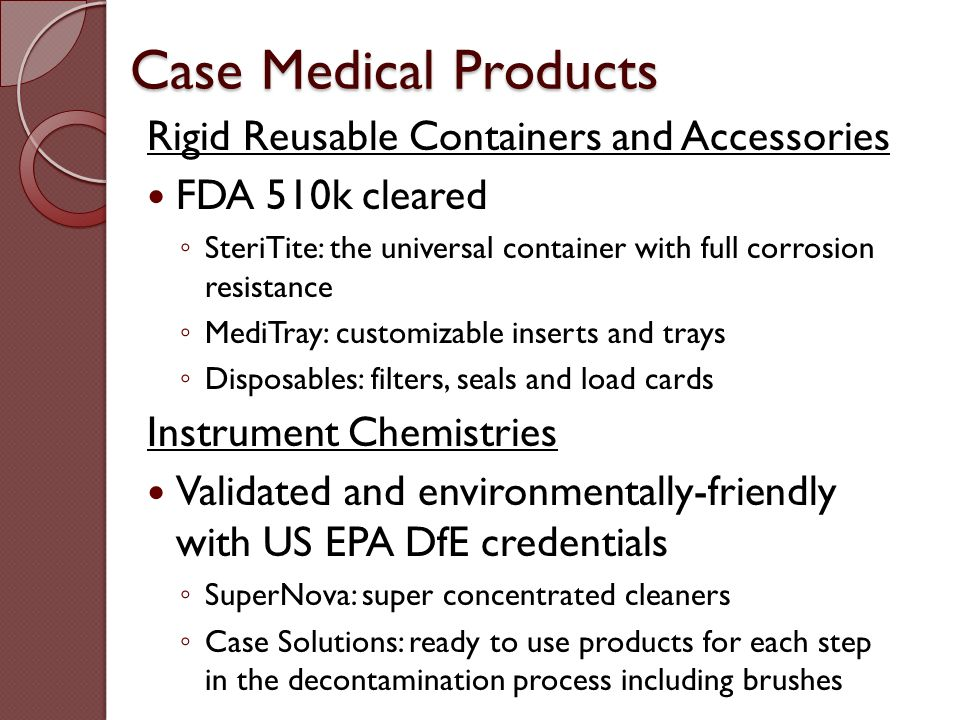 Case Medical Products Rigid Reusable Containers and Accessories