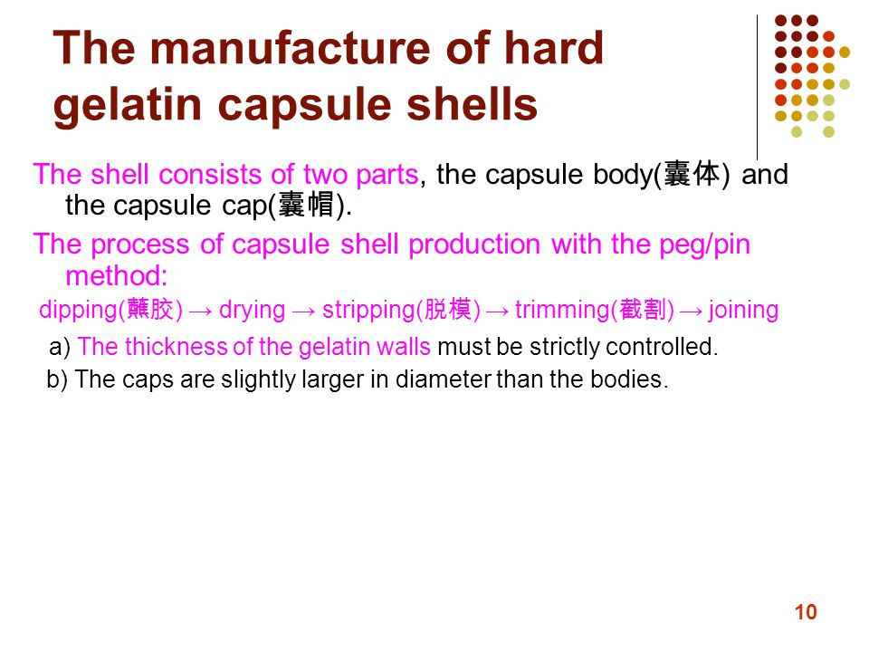 The manufacture of hard gelatin capsule shells